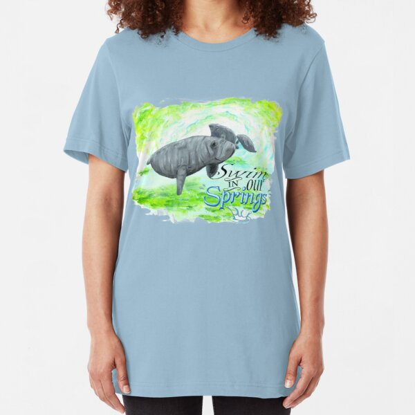 Manatees 'Swim in our Springs' (uneven border) Slim Fit T-Shirt