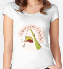 Cake Shark Just Wants Cake Women's Fitted Scoop T-Shirt