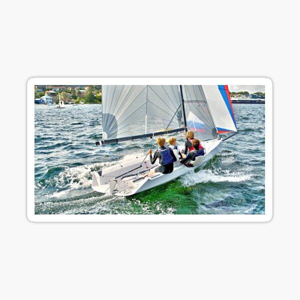 Water sport - Children sailing boats -Teamwork. Sticker