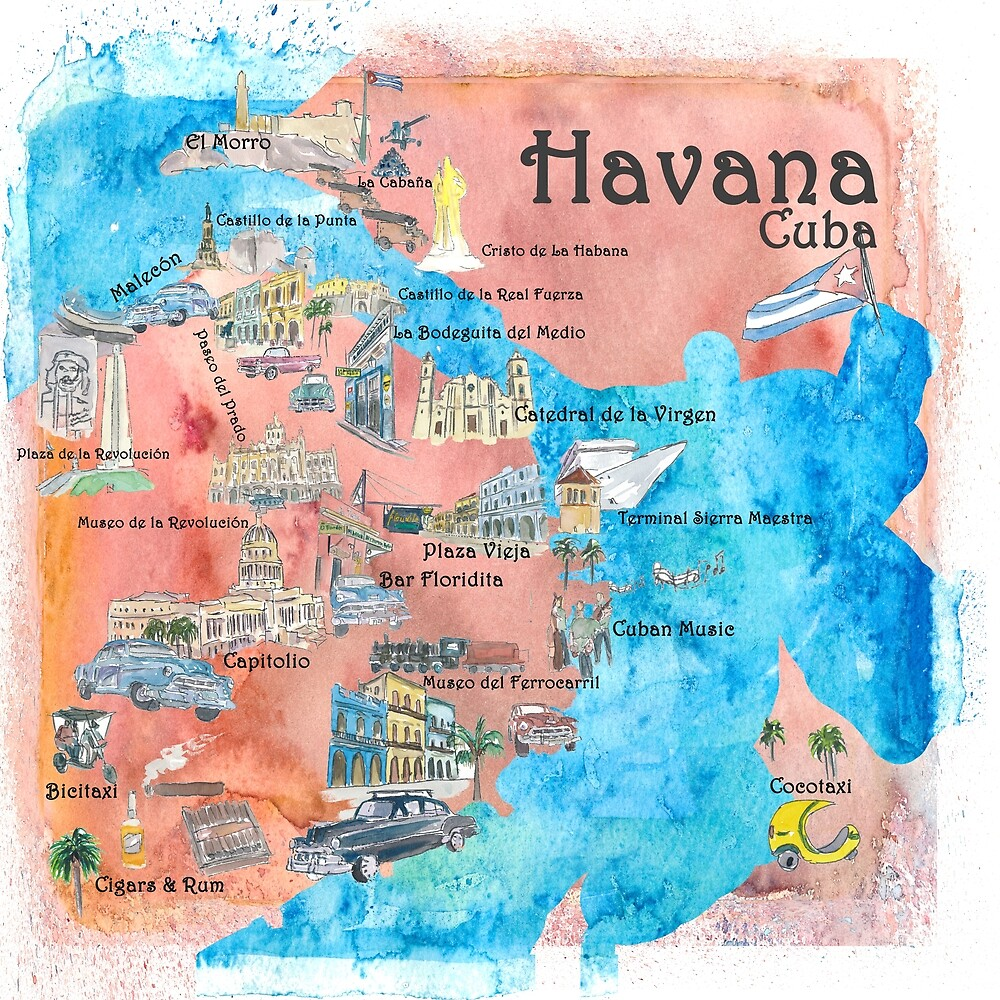 Havana Cuba Illustrated Travel Poster Favorite Sightseeing ...