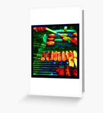 Hot Links, Burgers and Baby Back Ribs Greeting Card