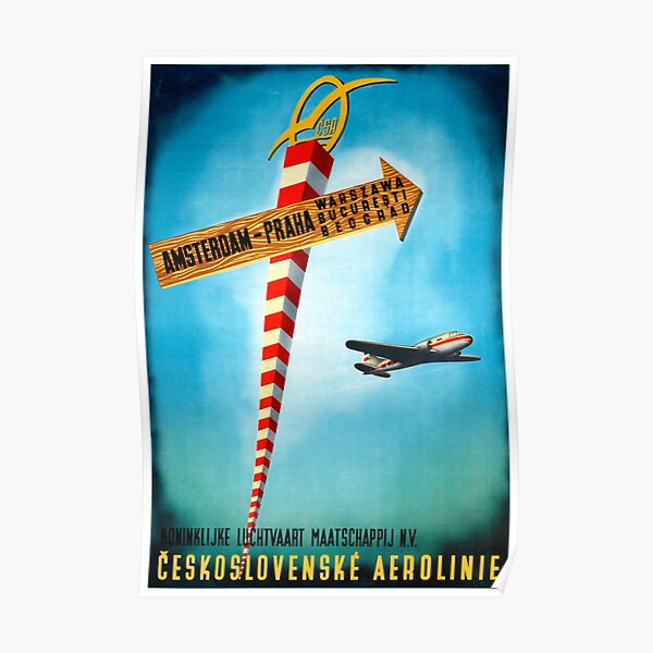 Czechoslovakia Fly by Czechoslovak Airlines 1950s Vintage Travel Poster Print