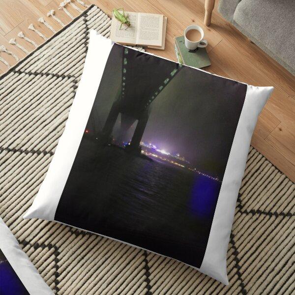 Early Morning at Verrazzano-Narrows Bridge, #Cable-#stayed #bridge  Floor Pillow