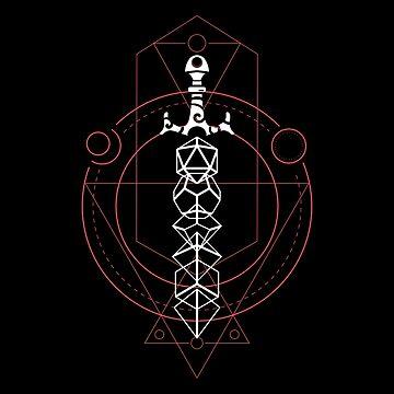 Juego de dados esotéricos y polihédricos mágicos Espada de la Armería de mazmorras de pixeptional