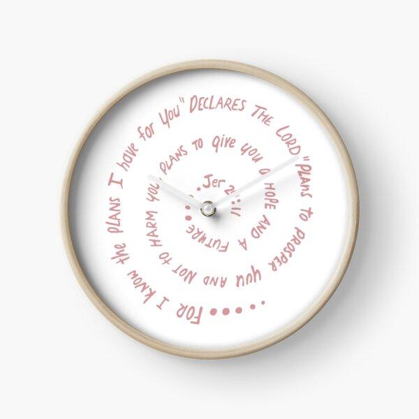 Hope in Christ Jeremiah 29:11 - printed in pink Clock
