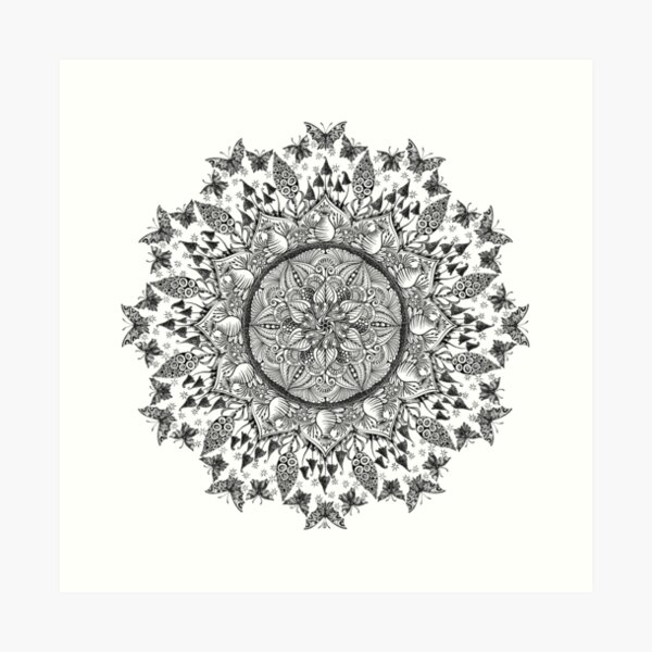 Entangled Garden Mandala Art Print