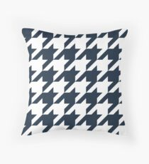 Navy Large Houndstooth Throw Pillow