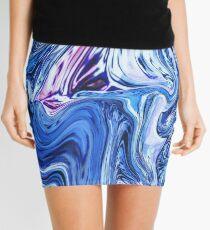 Ocean Swirls - Blue Planet Abstract Modern Art Mini Skirt