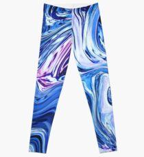 Ocean Swirls - Blue Planet Abstract Modern Art Leggings