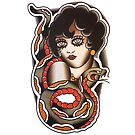 Traditional Snake Charmer Lady Tattoo Design by FOREVER TRUE TATTOO