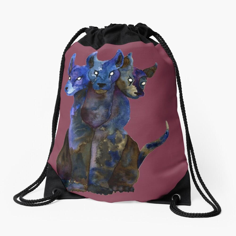 Cerberus Watercolor Drawstring Bag