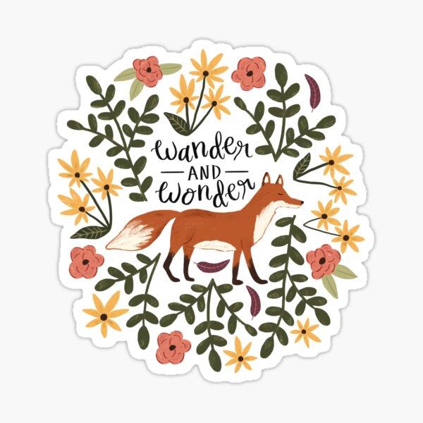 Fox and Florals - Wander and Wonder Sticker