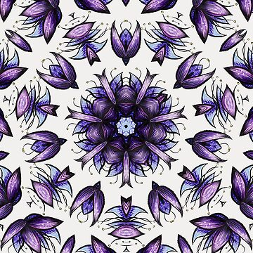 Abstract Flower Kaleidoscopic Pattern In Blue Violet by azzza