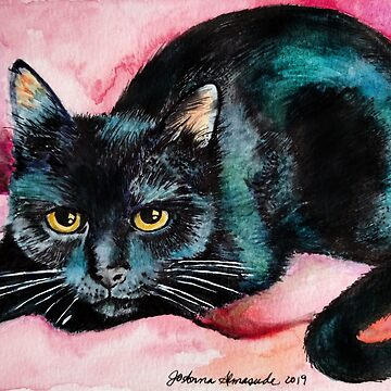 Watercolor of Billie the Black Cat by joannaalmasude