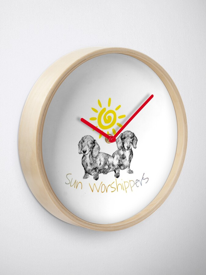 Alternate view of Dachshunds Sun Worshippers Clock