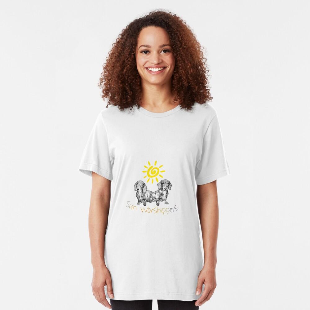 Dachshunds Sun Worshippers Slim Fit T-Shirt