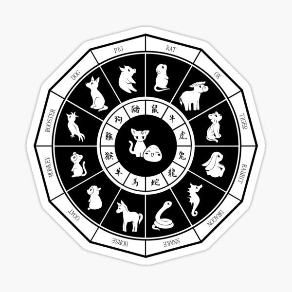 Chinese Zodiac White Fruits Basket Sticker