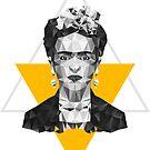 Schwarzweiss-Frida - geometrisches Portrait mit gelbem Dreieck von XOOXOO