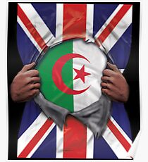 Algeria Flag Great Britain Flag Ripped - Gift For Algerian From Algeria Poster