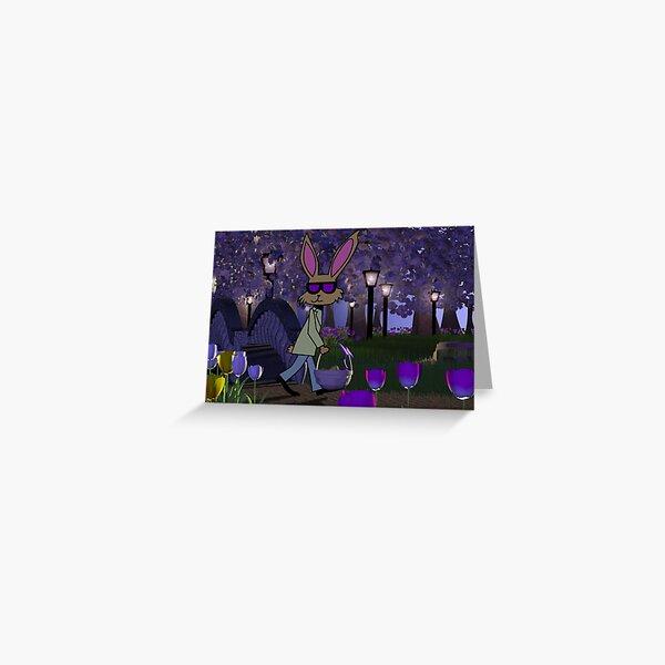 Walking Easter Rabbit Greeting Card