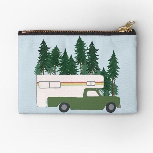 Vintage Truck Camper RV Motorhome  Green Forest Zipper Pouch