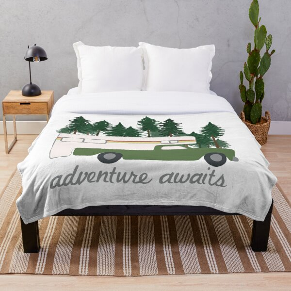 Adventure Awaits Vintage Truck Camper RV Motorhome Green Trees Throw Blanket