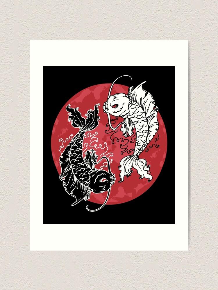 Artistic Yin And Yang Japanese Koi Fish Yin Yang Symbol Art Print By Mintedfresh Redbubble