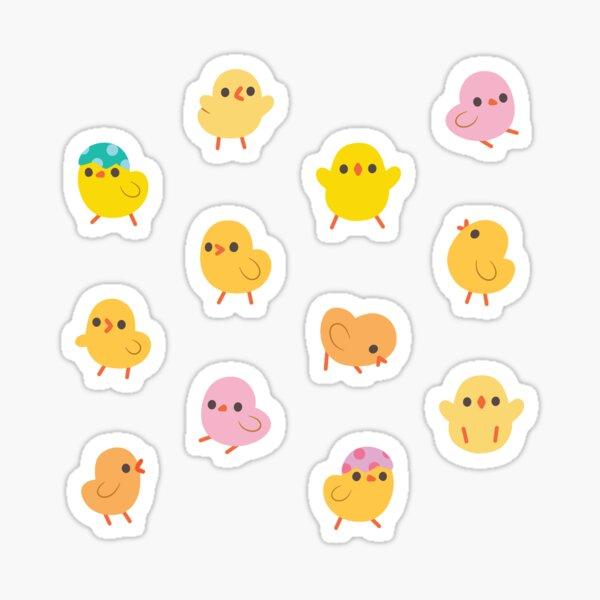 Pink and Yellow Baby Chicks Stickers Sticker