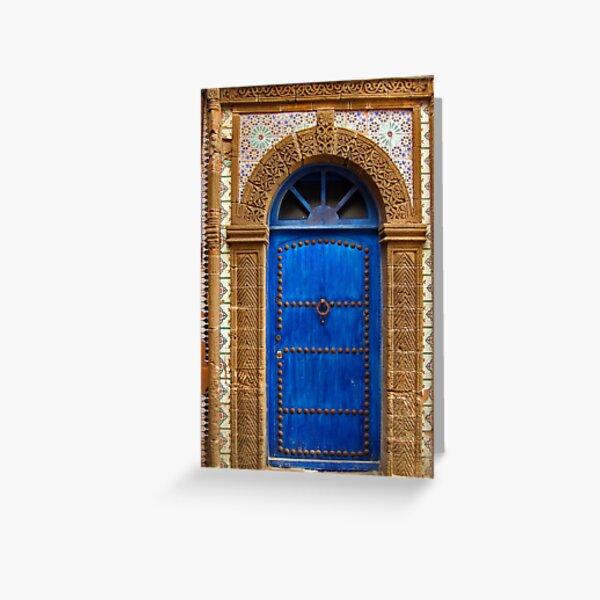 blue oriental door Greeting Card