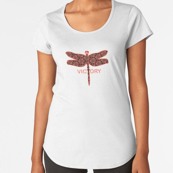 Geometric Psychedelic Victory Dragonfly  Premium Scoop T-Shirt