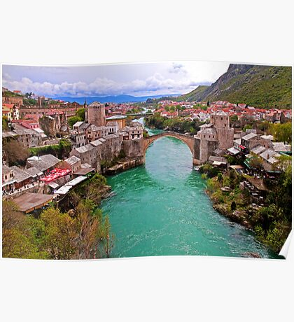 Mostar. View from the top of the Minaret. Poster