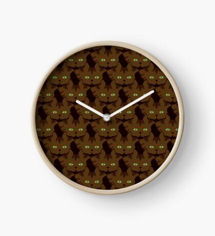 Coffee Brown Tabby Cat Cattern [Cat Pattern] Clock