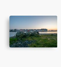The Old Long Walk and Lobster Pots at Sunrise, Galway Canvas Print