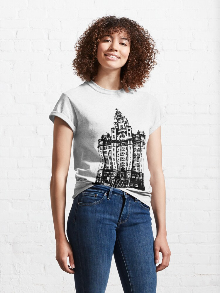 Alternate view of Liverpool Liver Building Vector Classic T-Shirt