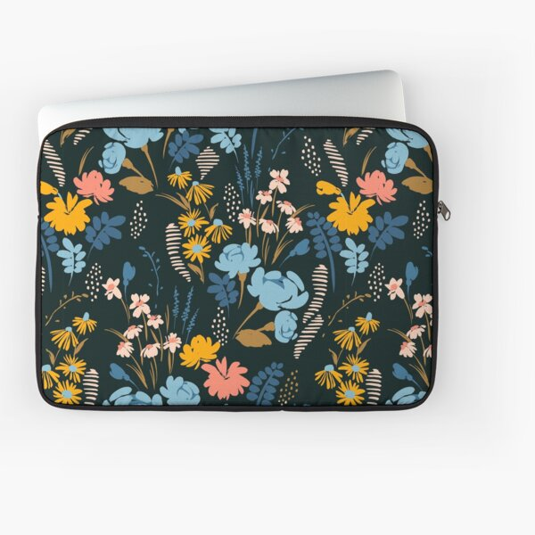 Pattern of blue, pink and yellow flowers on black background Laptop Sleeve