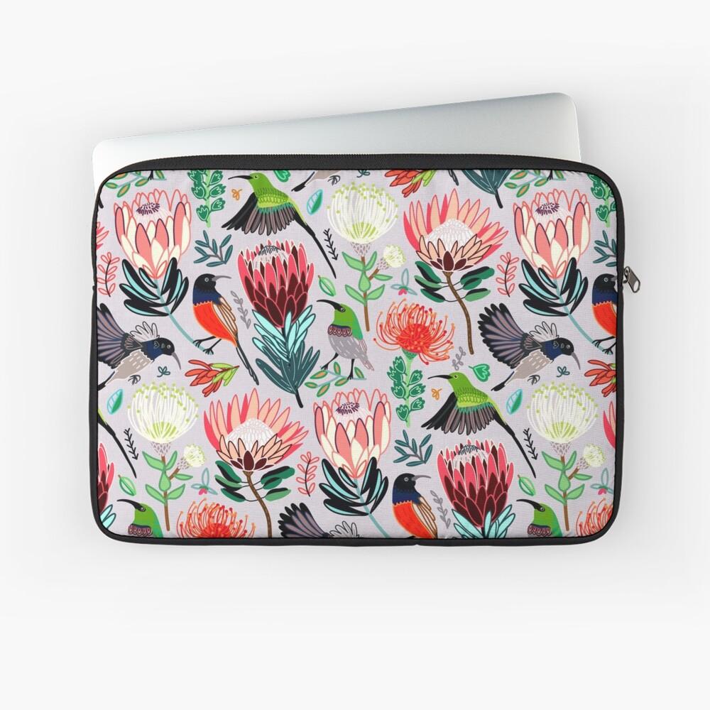 Sunbirds & Proteas On Grey Laptop Sleeve