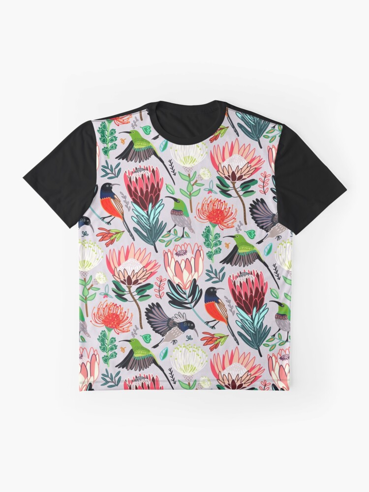 Alternate view of Sunbirds & Proteas On Grey Graphic T-Shirt