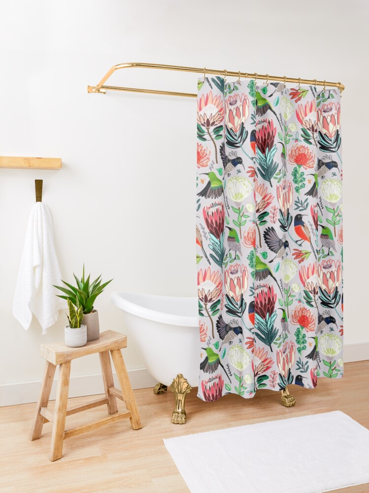 Alternate view of Sunbirds & Proteas On Grey Shower Curtain