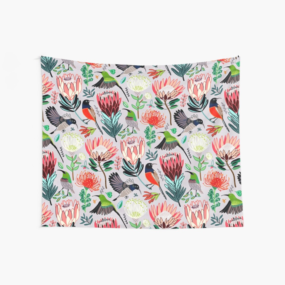 Sunbirds & Proteas On Grey Wall Tapestry
