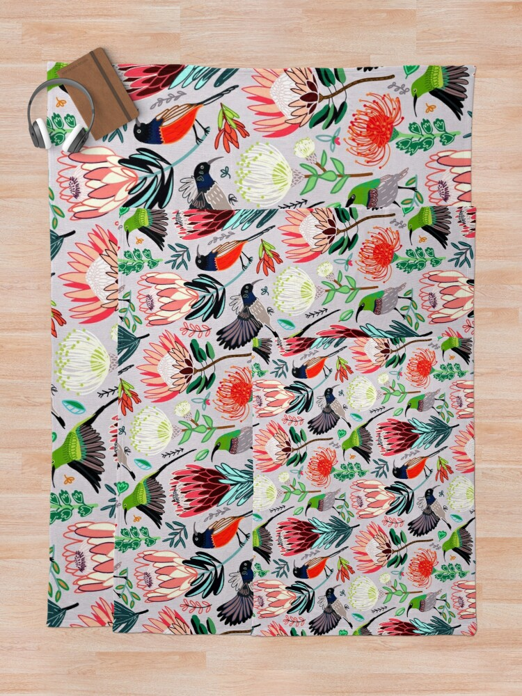 Alternate view of Sunbirds & Proteas On Grey Throw Blanket