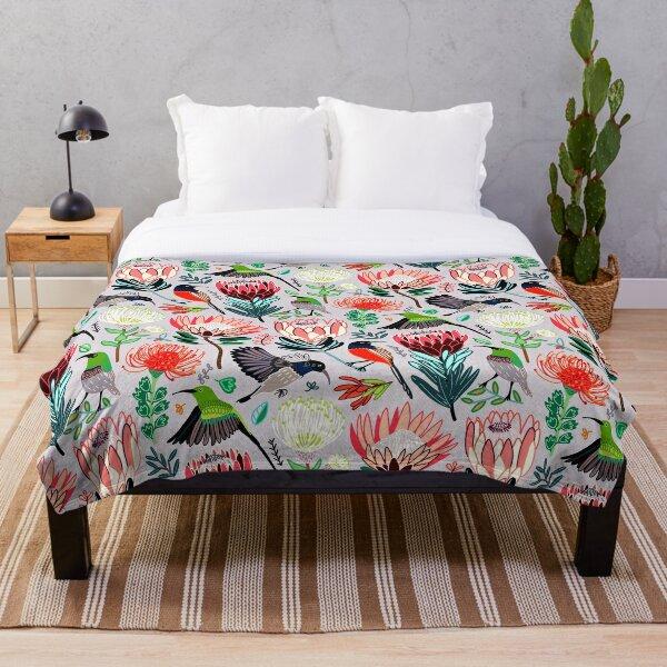 Sunbirds & Proteas On Grey Throw Blanket