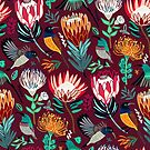 Sunbirds & Proteas On Maroon  by TigaTiga
