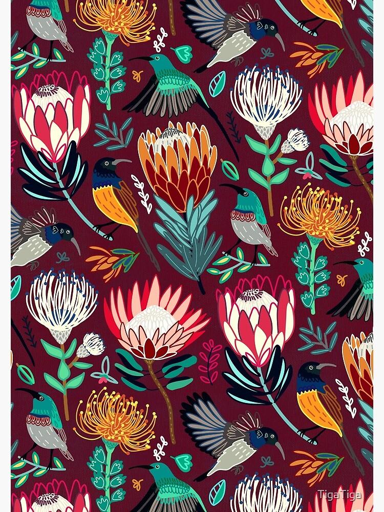 Sunbirds & Proteas On Maroon  by TigaTiga