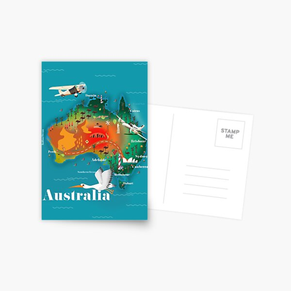 Australia Map Travel poster. Postcard