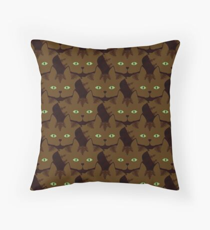 Coffee Brown Tabby Cat Cattern [Cat Pattern] Throw Pillow