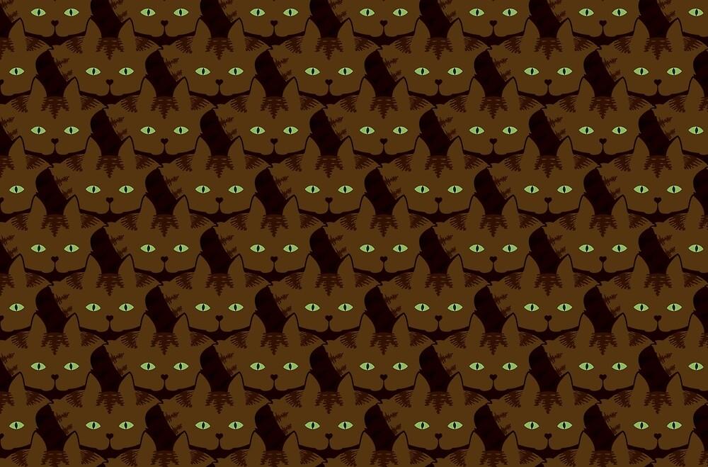 Coffee Brown Tabby Cat Cattern [Cat Pattern] by Brent Pruitt