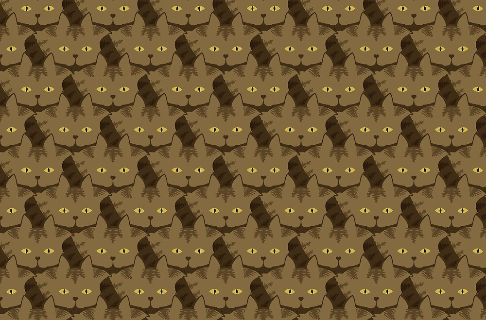 Cocoa Brown Tabby Cat Cattern [Cat Pattern] by Brent Pruitt