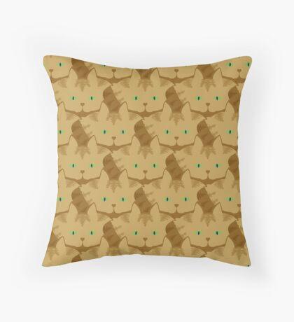 Latté Brown Tabby Cat Cattern [Cat Pattern] Throw Pillow