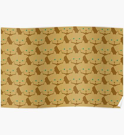 Latté Brown Cat Cattern [Cat Pattern] Poster