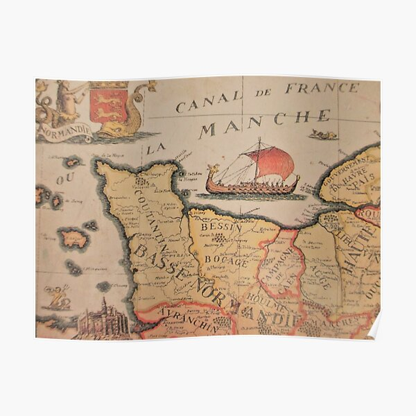 old map of normandy Poster